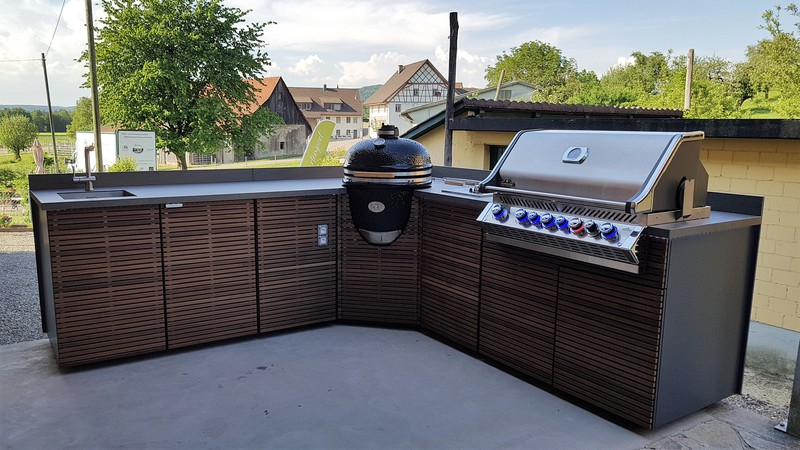 Außenküche Mit Grill : ▷ ideen für außenküche selber bauen beispiele für